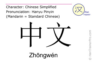 Chinese characters  ( Zhongwen / Zhōngwén ) with pronunciation (English translation: Chinese (language) )