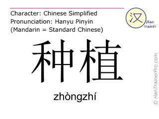 Chinesische Schriftzeichen  ( zhongzhi / zhòngzhí ) mit Aussprache (Deutsche Bedeutung: pflanzen )