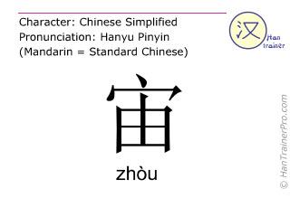 Chinesische Schriftzeichen  ( zhou / zhòu ) mit Aussprache (Deutsche Bedeutung: Ewigkeit )