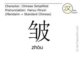 Chinesische Schriftzeichen  ( zhou / zhòu ) mit Aussprache (Deutsche Bedeutung: Falte )
