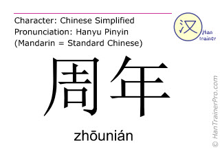 Chinese characters  ( zhounian / zhōunián ) with pronunciation (English translation: anniversary )