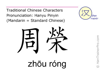 Chinese characters  ( zhou rong / zhōu róng ) with pronunciation (English translation: Spleen 20 )