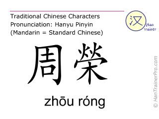 Caracteres chinos  ( zhou rong / zhōu róng ) con pronunciación (traducción española: bazo 20 )