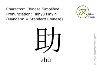 Chinese characters  ( zhu / zhù ) with pronunciation (English translation: to help )