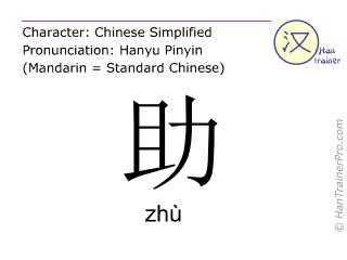 Caracteres chinos  ( zhu / zhù ) con pronunciación (traducción española: ayuda )