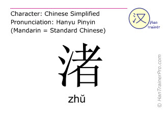 Chinese characters  ( zhu / zhŭ ) with pronunciation (English translation: <m>islet</m> )
