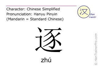 汉字  ( zhu / zhú ) 包括发音 (英文翻译: to pursue )