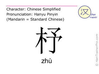 Chinese characters  ( zhu / zhù ) with pronunciation (English translation: <m>shuttle of a loom</m> )