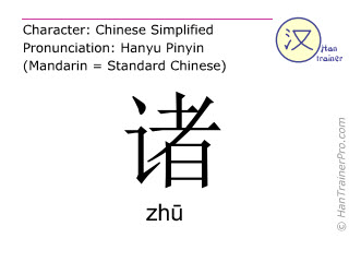 Chinese characters  ( zhu / zhū ) with pronunciation (English translation: various )