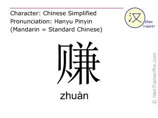 Chinesische Schriftzeichen  ( zhuan / zhuàn ) mit Aussprache (Deutsche Bedeutung: verdienen )