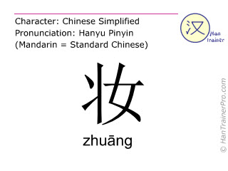 Chinese characters  ( zhuang / zhu&#257ng ) with pronunciation (English translation: to apply make up )