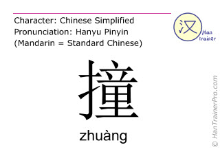 Chinese characters  ( zhuang / zhuàng ) with pronunciation (English translation: to hit )
