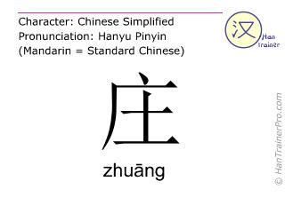 Caracteres chinos  ( zhuang / zhuāng ) con pronunciación (traducción española: <m>pueblo</m> )