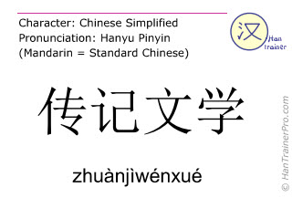 Chinese characters  ( zhuanjiwenxue / zhuànjìwénxué ) with pronunciation (English translation: biography )