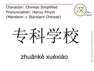 Chinese characters  ( zhuanke xuexiao / zhuānkè xuéxiào ) with pronunciation (English translation: vocational school )