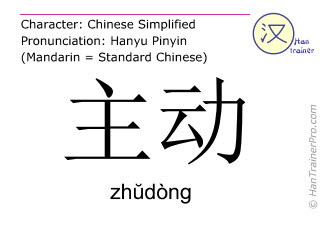Chinese characters  ( zhudong / zhŭdòng ) with pronunciation (English translation: initiative )