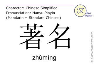 Chinesische Schriftzeichen  ( zhuming / zhùmíng ) mit Aussprache (Deutsche Bedeutung: berühmt )