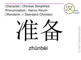Chinese characters  ( zhunbei / zhŭnbèi ) with pronunciation (English translation: to prepare )