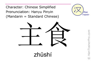 Chinese characters  ( zhushi / zhŭshí ) with pronunciation (English translation: staple food )