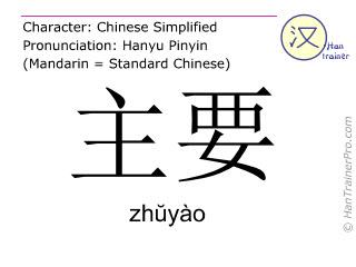 Chinesische Schriftzeichen  ( zhuyao / zhŭyào ) mit Aussprache (Deutsche Bedeutung: hauptsächlich )