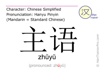 Chinese characters  ( zhuyu / zhŭyŭ ) with pronunciation (English translation: subject )