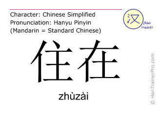 Chinese characters  ( zhuzai / zhùzài ) with pronunciation (English translation: to live at )