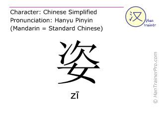 Chinesische Schriftzeichen  ( zi / zī ) mit Aussprache (Deutsche Bedeutung: <m>Haltung</m> )
