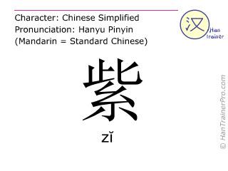 汉字  ( zi / zĭ ) 包括发音 (英文翻译: purple )