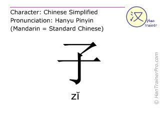 Chinese characters  ( zi / zĭ ) with pronunciation (English translation: son )