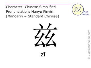 Chinesische Schriftzeichen  ( zi / zī ) mit Aussprache (Deutsche Bedeutung: dieses )