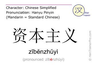 Chinesische Schriftzeichen  ( zibenzhuyi / zībĕnzhŭyì ) mit Aussprache (Deutsche Bedeutung: Kapitalismus )