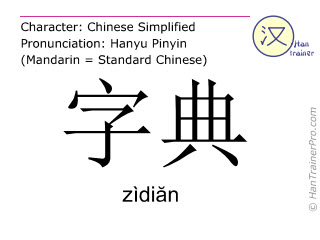 Chinese characters  ( zidian / zìdiăn ) with pronunciation (English translation: dictionary )