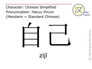 Chinese characters  ( ziji / zìjĭ ) with pronunciation (English translation: self )