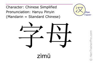 Chinesische Schriftzeichen  ( zimu / zìmŭ ) mit Aussprache (Deutsche Bedeutung: Buchstabe )