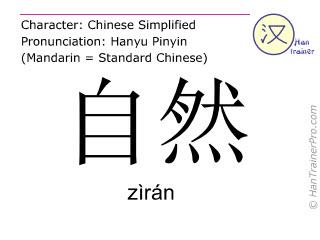 Chinese characters  ( ziran / zìrán ) with pronunciation (English translation: natural )