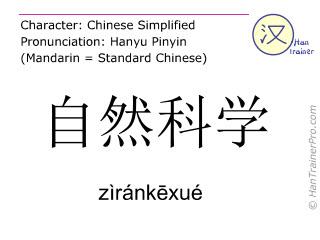 汉字  ( zirankexue / zìránkēxué ) 包括发音 (英文翻译: natural science )