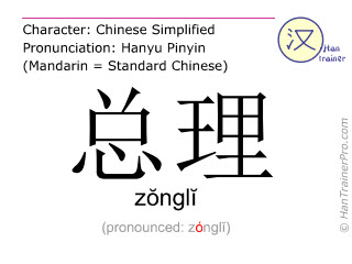 Chinese characters  ( zongli / zŏnglĭ ) with pronunciation (English translation: premier )
