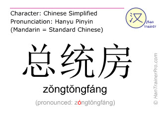 Chinese characters  ( zongtongfang / zŏngtŏngfáng ) with pronunciation (English translation: premier room )