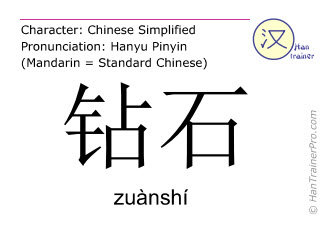 Caractère chinois  ( zuanshi / zuànshí ) avec prononciation (traduction française: diamant )