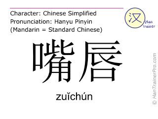 Chinesische Schriftzeichen  ( zuichun / zuĭchún ) mit Aussprache (Deutsche Bedeutung: Lippe )
