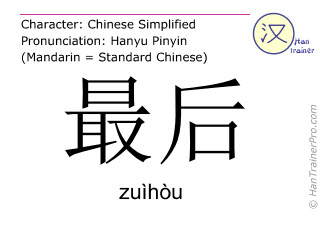 Chinese characters  ( zuihou / zuìhòu ) with pronunciation (English translation: last )