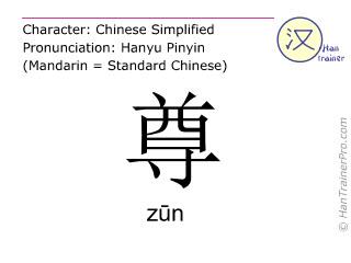 Caractère chinois  ( zun / zūn ) avec prononciation (traduction française: supérieur )