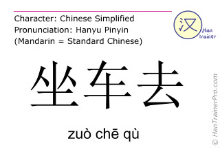 Chinese characters  ( zuo che qu / zuò chē qù ) with pronunciation (English translation: to go by car )