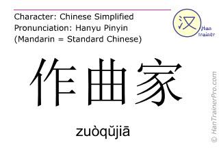 Chinesische Schriftzeichen  ( zuoqujia / zuòqŭjiā ) mit Aussprache (Deutsche Bedeutung: Komponist )