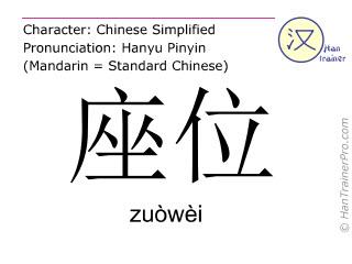 Chinese characters  ( zuowei / zuòwèi ) with pronunciation (English translation: seat )