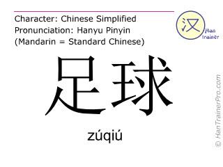 Chinese characters  ( zuqiu / zúqiú ) with pronunciation (English translation: football )