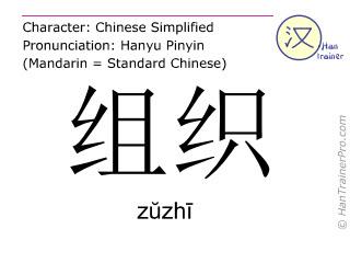 汉字  ( zuzhi / zŭzhī ) 包括发音 (英文翻译: to arrange )